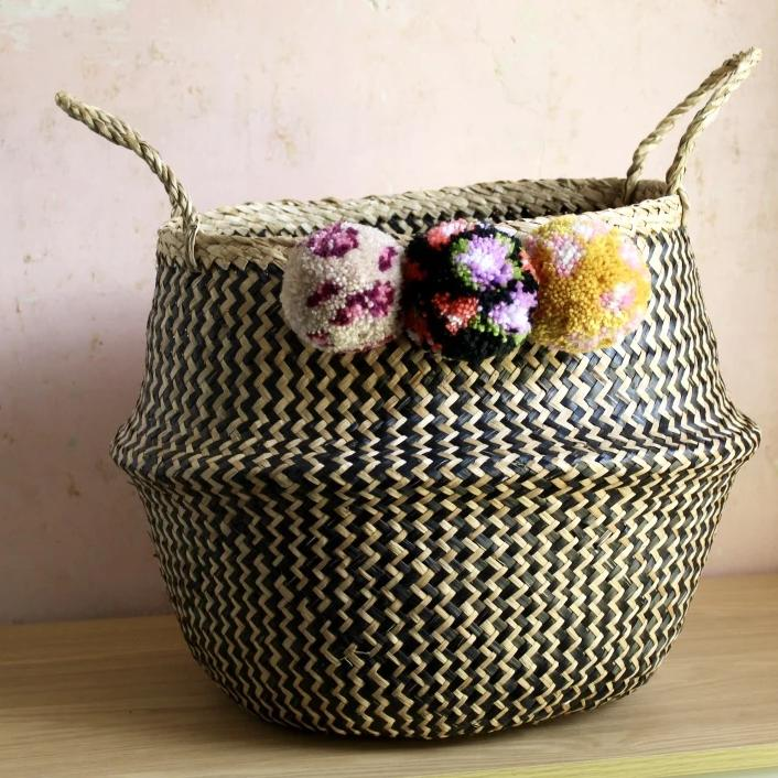 Floral & Leopard Print Seagrass Pom Pom Basket From Forest Fox
