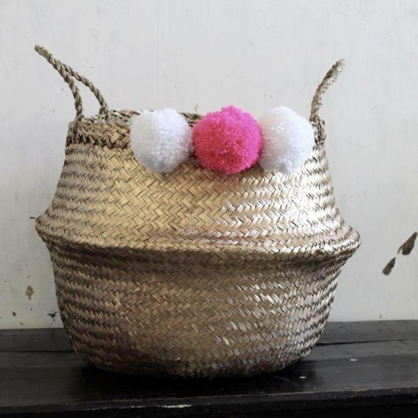 pom pom storage belly basket gold from Forest Fox