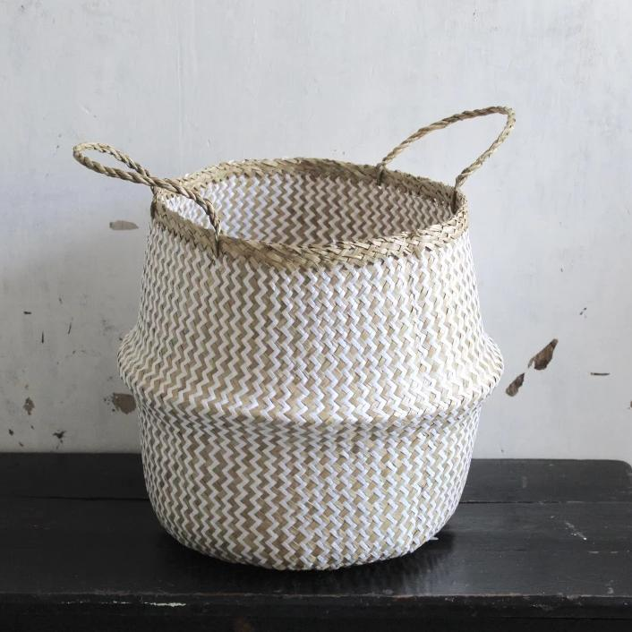 Zig Zag white & natural seagrass basket from Forest Fox