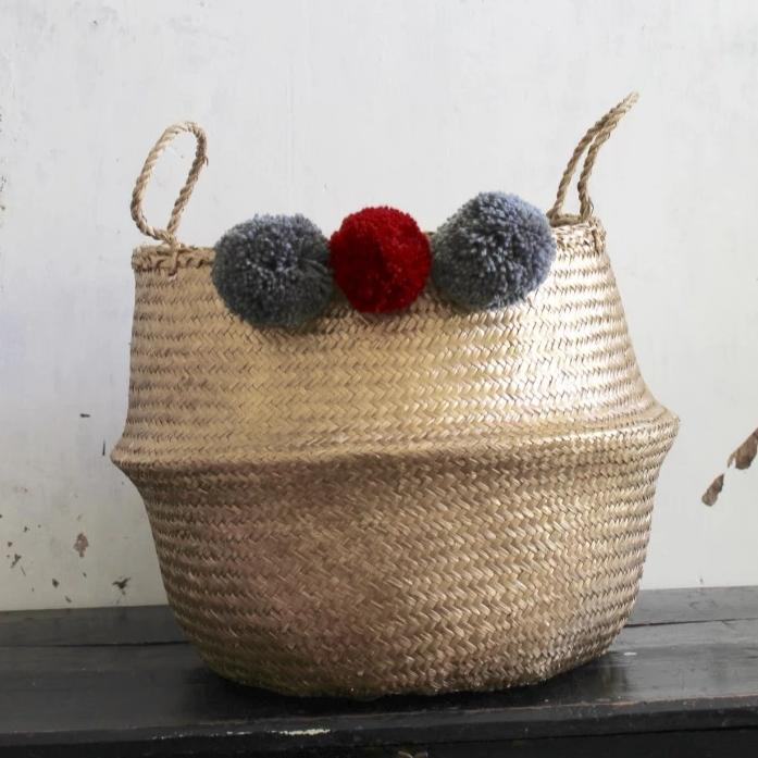 Forest Fox gold seagrass pom pom basket Christmas gift ideas