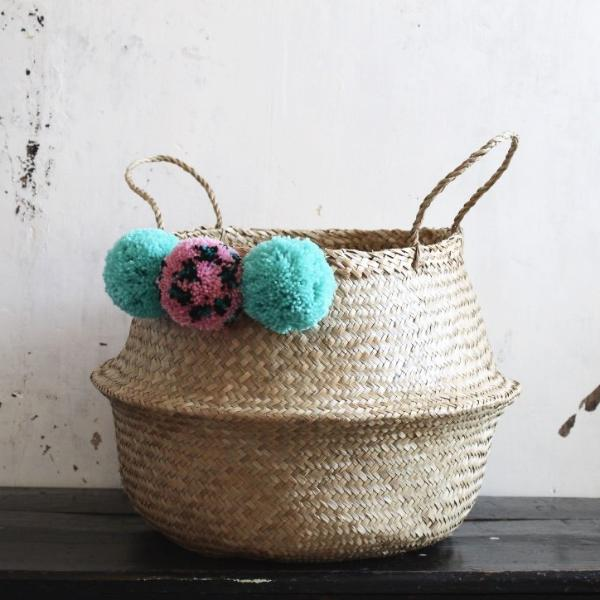 Seagrass pom pom storage basket from Forest Fox
