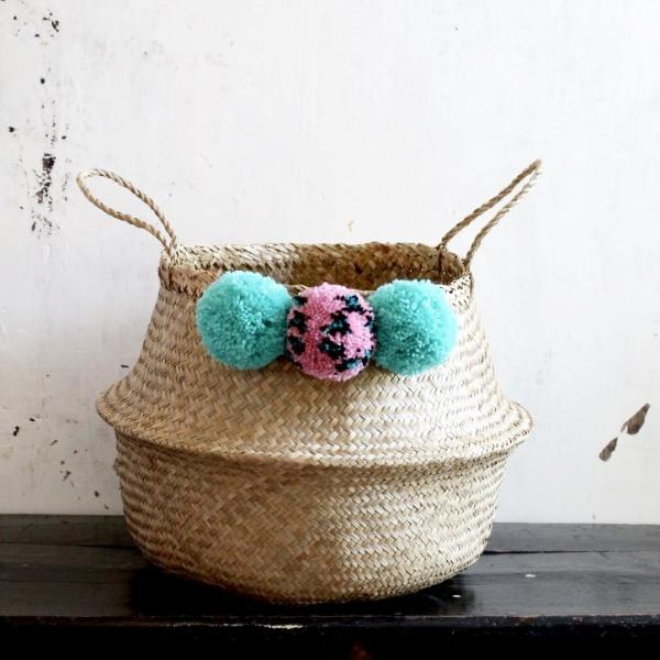 Handmade pom pom seagrass basket from Forest Fox