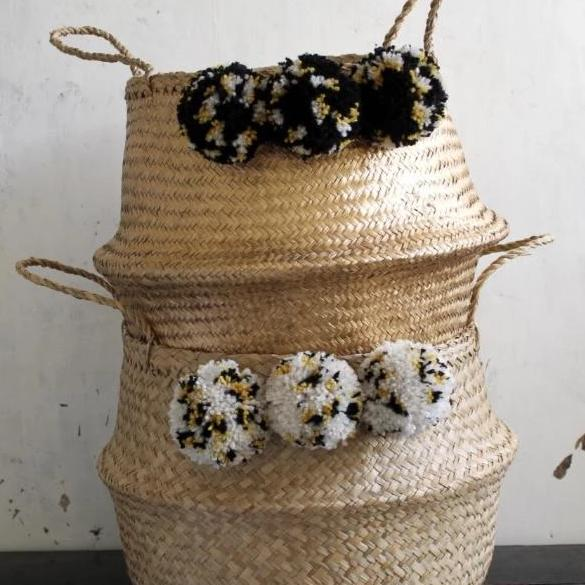 Leopard print pom pom gold seagrass basket from Forest Fox
