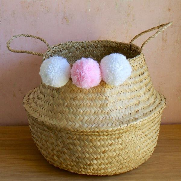 Natural Seagrass Basket White & Candy Pink Pom Poms