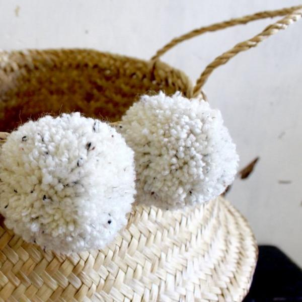 Seagrass pom pom belly basket natural handmade