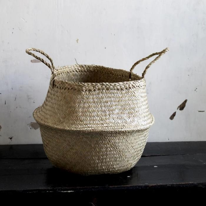 Handmade Seagrass Storage Belly Basket Plain Natural