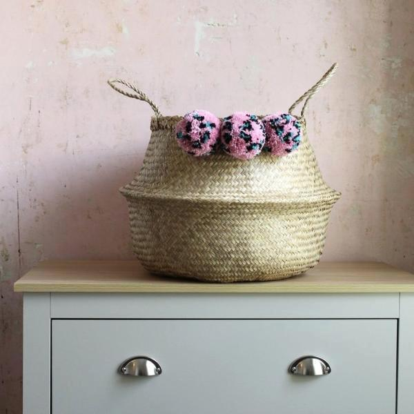 pink pom pom storage basket from Forest Fox