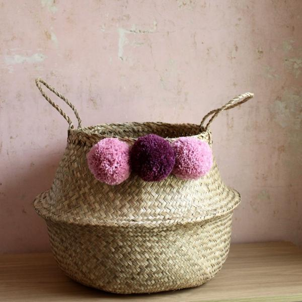 Storage Basket With Dusky Rose Pom Poms