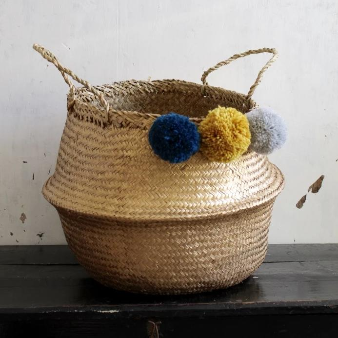 Pom Pom gold teal, mustard, grey seagrass basket from Forest Fox