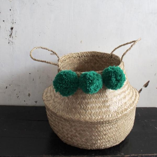 Pom pom seagrass woven belly basket natural