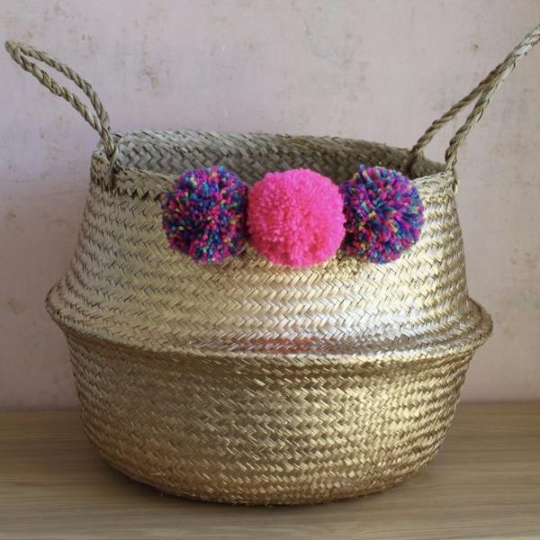 Gold Seagrass Basket Neon Pink Pom Poms