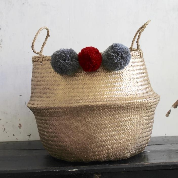 Forest Fox gold seagrass red pom pom basket Christmas gift ideas