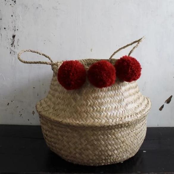 Forest Fox red pom pom seagrass woven belly basket natural