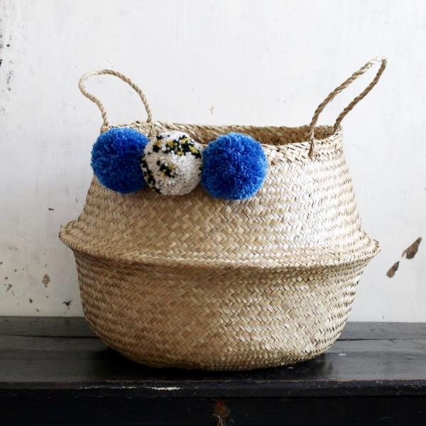Pom pom seagrass storage belly basket natural by Forest Fox