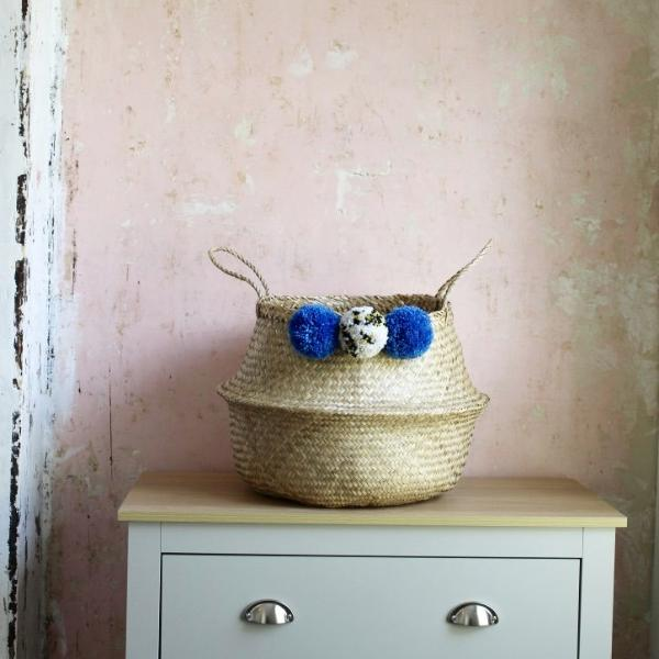 Blue pom pom storage basket from Forest Fox