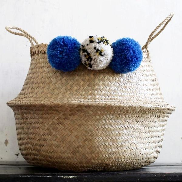 pom pom leopard print seagrass basket by Forest Fox