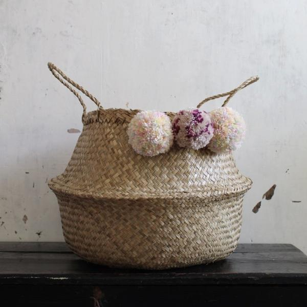 Forest Fox Pom pom seagrass woven belly basket natural
