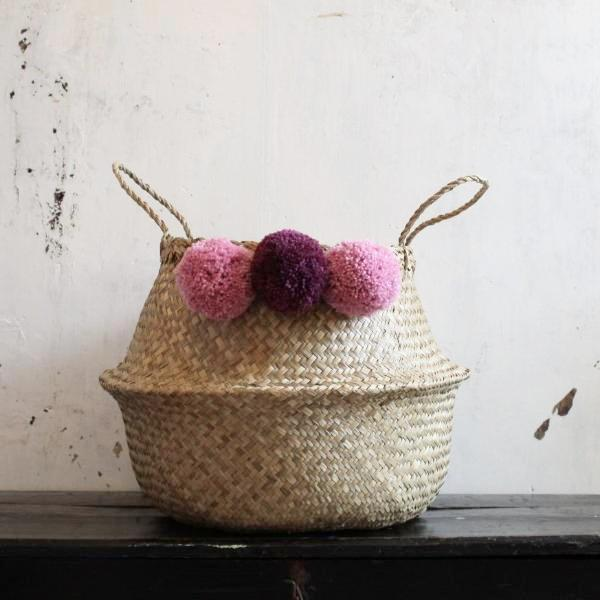 Scandi storage basket with pom poms from Forest Fox