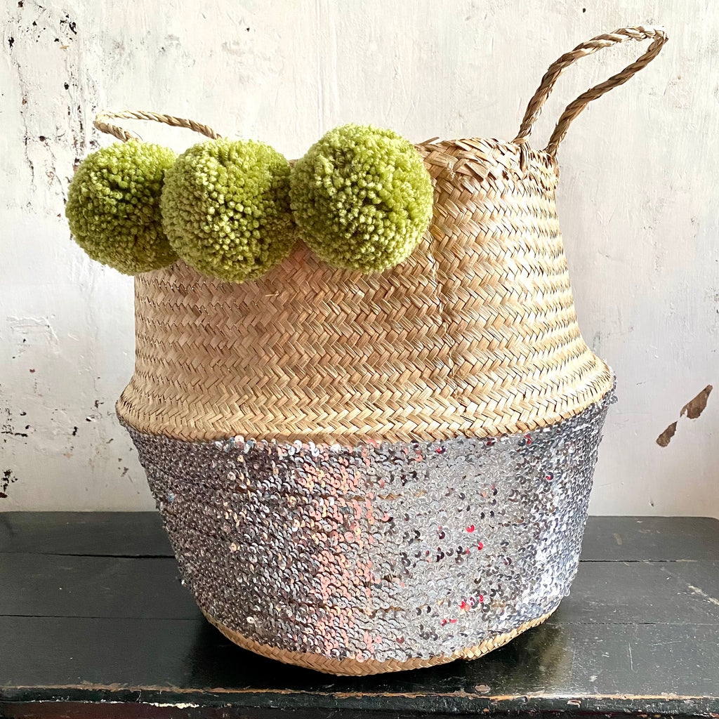 Silver Sequin  lime green pom pom basket
