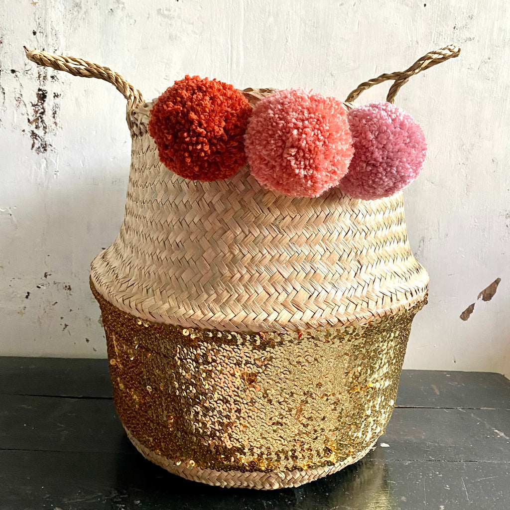 Forest Fox Gold Sequin pom pom basket  Rust Terracotta Pink
