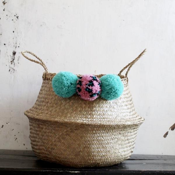 Pom pom seagrass belly basket natural by Forest Fox
