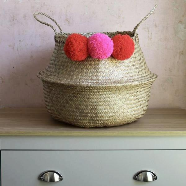 Pink pom pom storage basket by Forest Fox