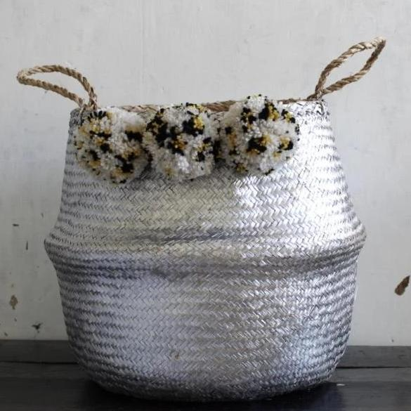 Pom Pom Silver seagrass belly basket Leopard Print from Forest Fox