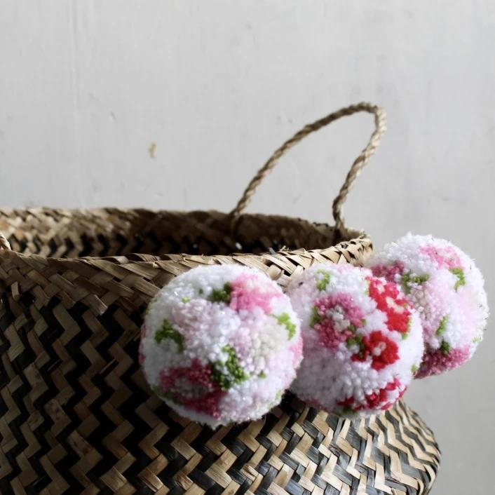 Japanese Inspired Floral Blossom Pom Pom Zig Zag Seagrass Storage Back From Forest Fox
