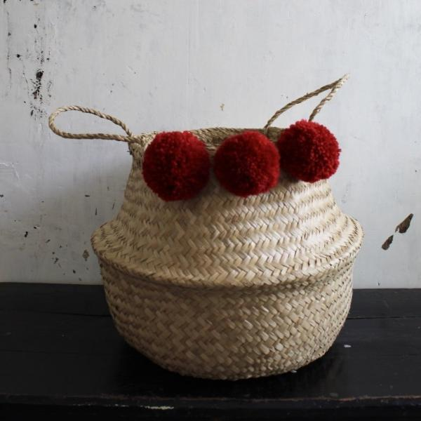 Red pom pom seagrass belly basket natural handmade from Forest Fox