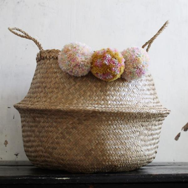 Pom pom seagrass belly basket natural leopard print by Forest Fox