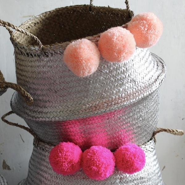 Pom pom seagrass belly basket from Forest Fox