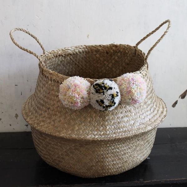 Leopard print pom pom seagrass basket from Forest Fox