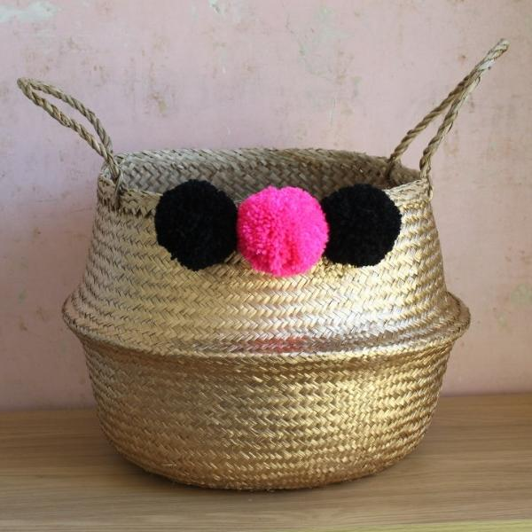 pom pom seagrass storage belly basket gold from Forest Fox