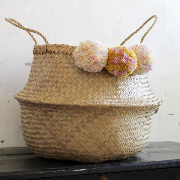 Pom pom seagrass woven belly basket natural by Forest Fox