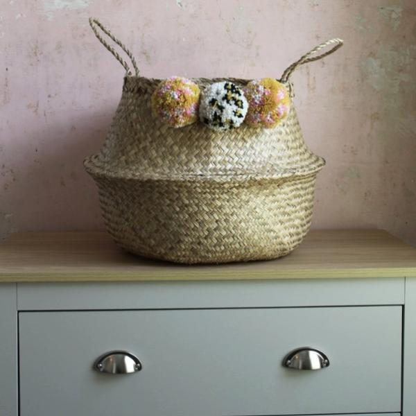 Handmade seagrass storage pom pom basket from Forest Fox
