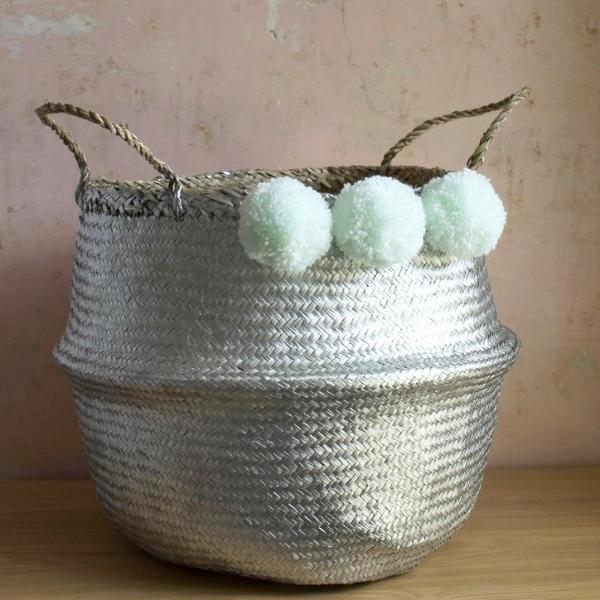 Silver pom pom seagrass belly basket by Forest Fox