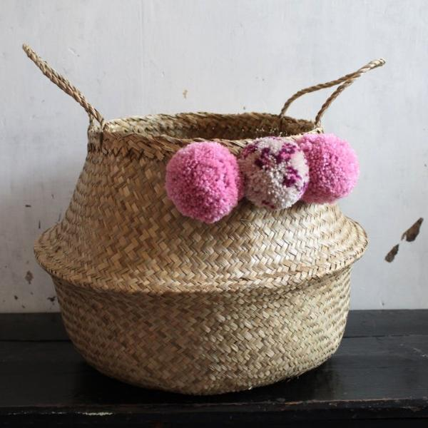 pom pom seagrass basket from Forest Fox