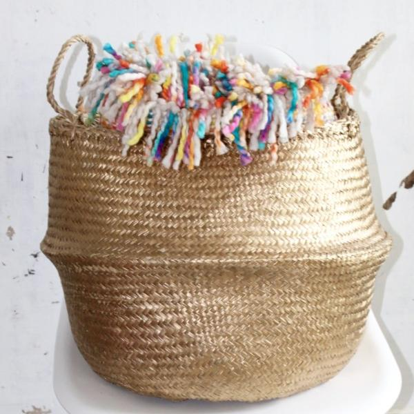 Handmade gold seagrass belly basket