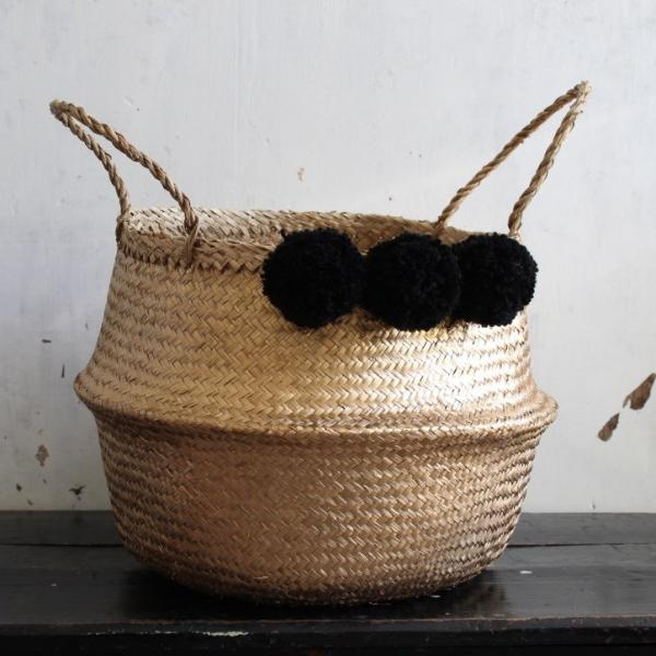 pom pom seagrass storage basket gold from Forest Fox