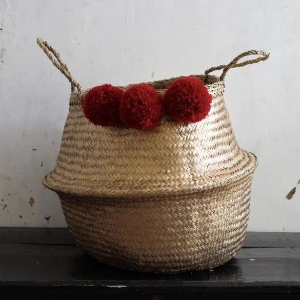 Red Pom Pom seagrass gold basket from Forest Fox