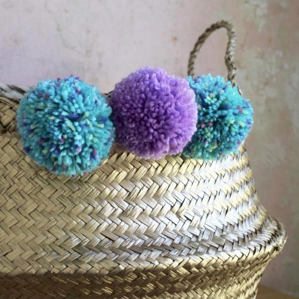 Pom pom belly basket gold by Forest Fox