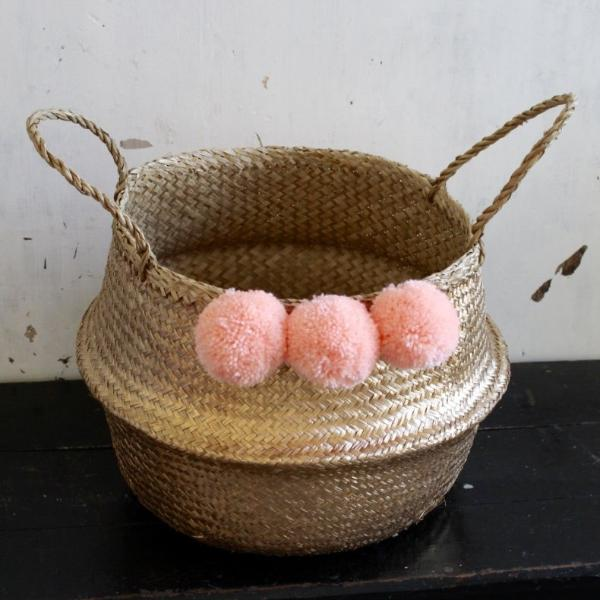 Pom pom seagrass woven belly basket by Forest Fox