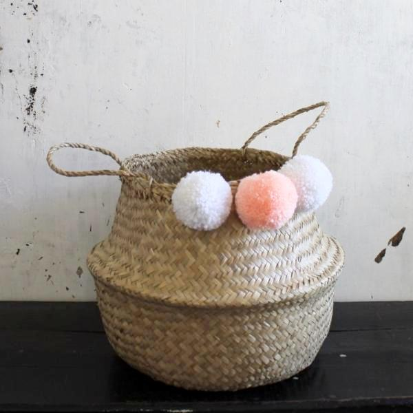 Pom pom seagrass woven belly basket natural handmade by Forest Fox