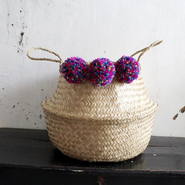 Handmade natural seagrass storage belly basket & multicoloured pom pom