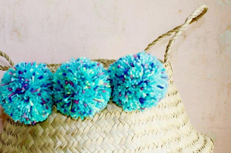 Natural Seagrass Belly Basket & Turquoise Blue Multi Coloured Pom Poms