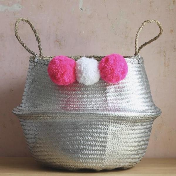 Silver seagrass pom pom belly basket handmade
