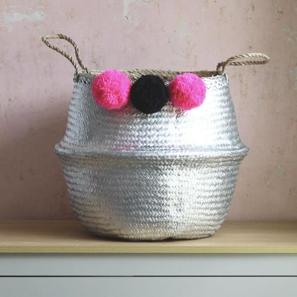 Seagrass pom pom belly basket handmade from Forest Fox