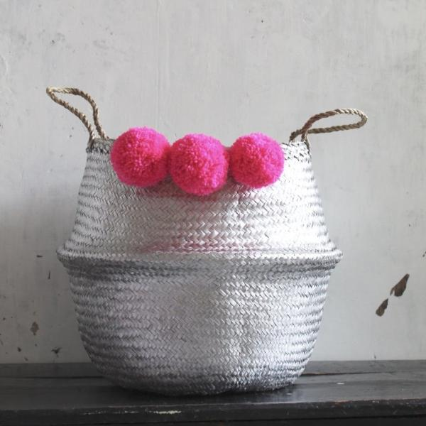 Pink pom pom seagrass belly basket