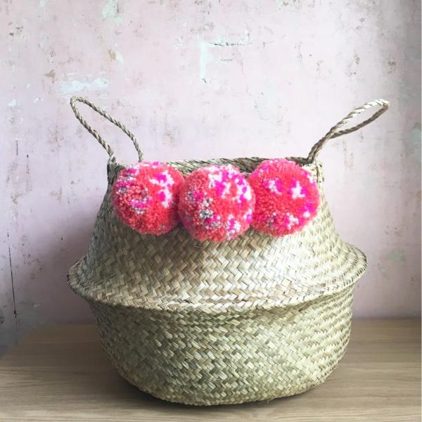 Leopard print pom pom seagrass belly basket from Forest Fox