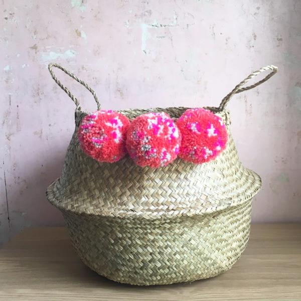 Pom pom seagrass belly basket Leopard Print by Forest Fox